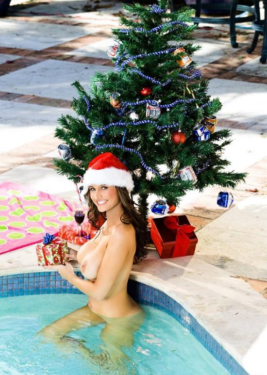 femme nue au Noel près du sapin